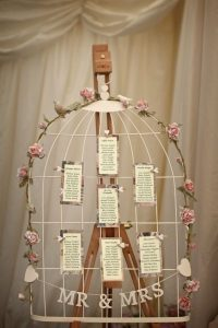 seating chart cage lovebirds flowers pink