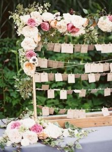 seating chart flowers pink cards