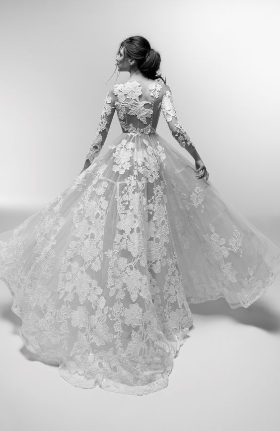 Wedding dress, wedding gown, black and white photo